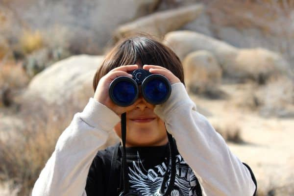 child with binoculars in nature