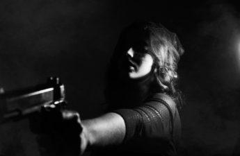 woman using gun to defend herself