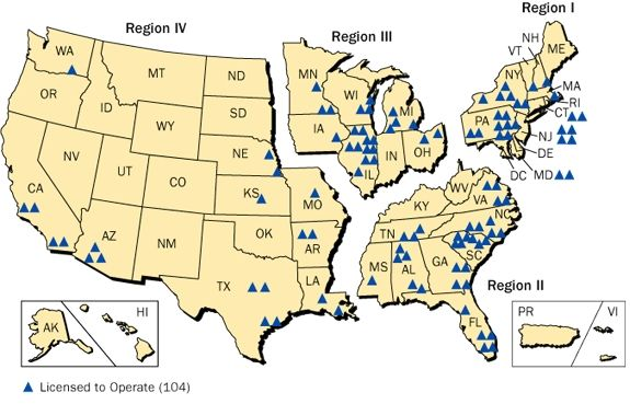 NRC regions and plant locations