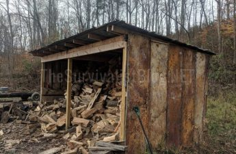 wood shed filled with firewood