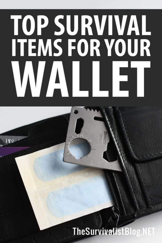 wallet survival items Pinterest image