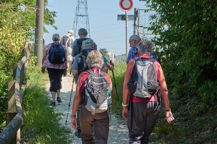 elderly hiking