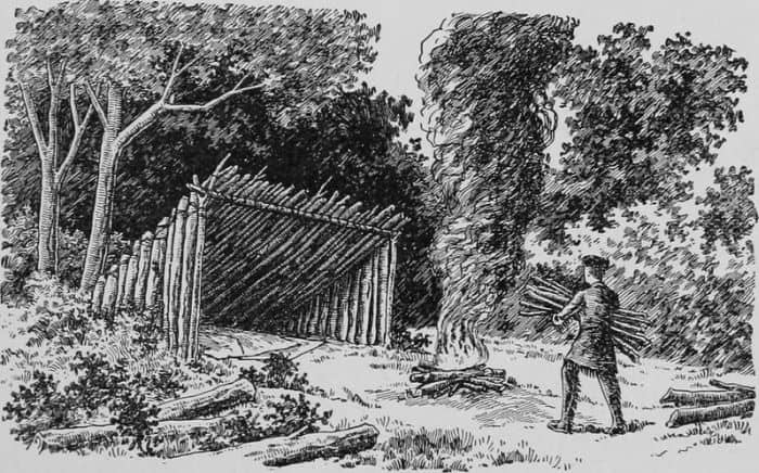 pioneer building a large shelter