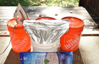 rice in Mylar bag in bucket