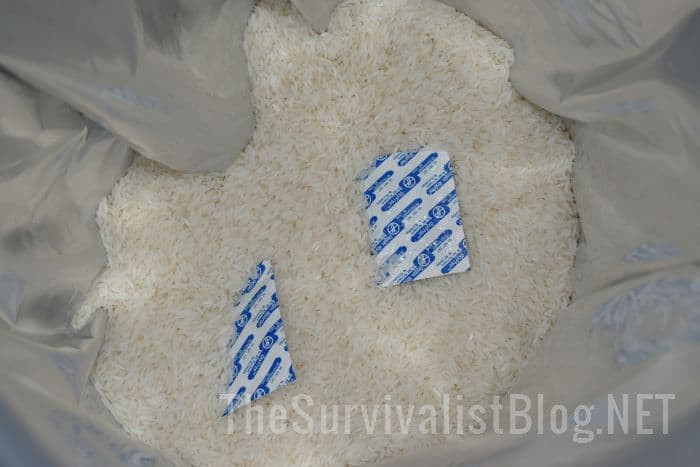 rice with oxygen absorbers in Mylar bag
