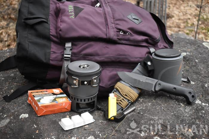 bug out bag with contents spread out