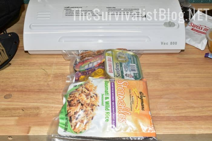 instant rice clif bar and tuna sealed in zipper bag