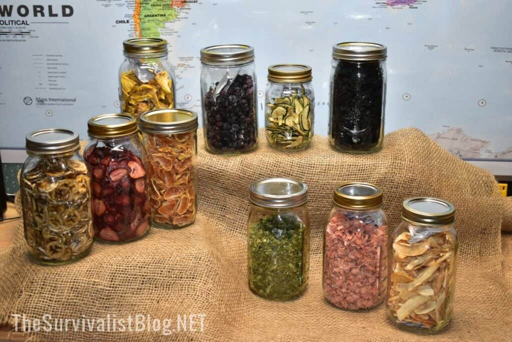 various dehydrated foods in Mason jars